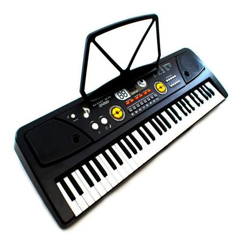 Teclado Musical Piano Aprendiz 61 Teclas Microfone De Mesa