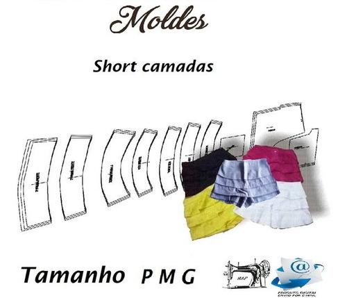 Molde De Shorte Camadas Frente Jeans, Piquet Por Email