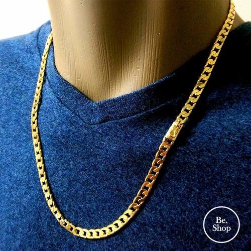 Corrente + Pulseira Banhado A Ouro - Masculino 7mm 60cm