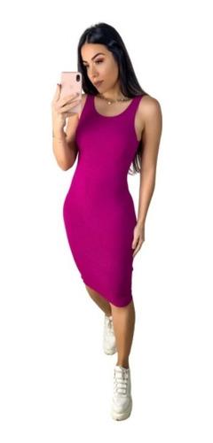Vestido Feminino Colado Midi Canelado Inovar