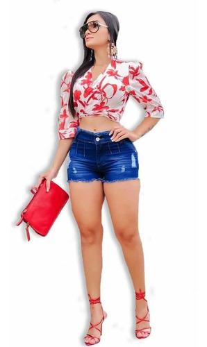 Short Jeans Feminino Cintura Alta Hot Pants Top