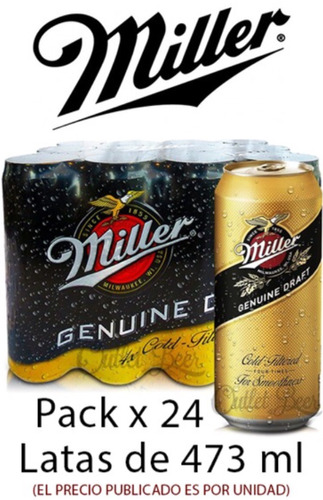 Cerveza Miller Lata X 473 Cc.