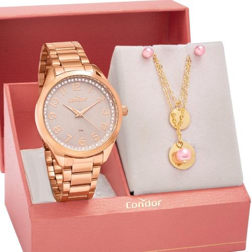 Kit Relógio Feminino Condor Com Semi Joias Co2035moy/k4c