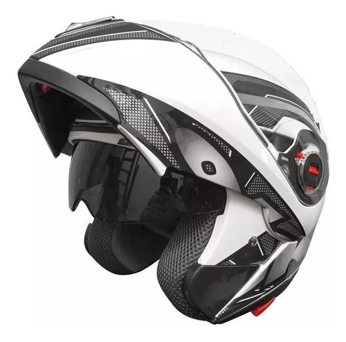Casco Para Moto Rebatible Okinoi Okn-10 Blanco Talle L