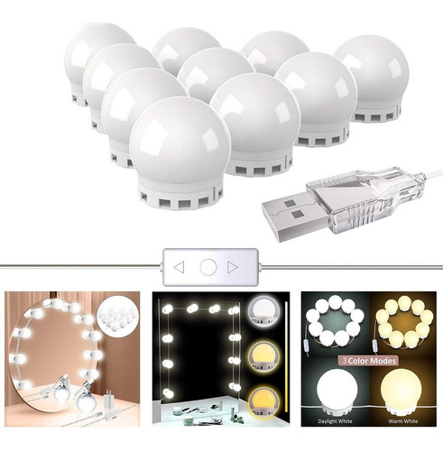 Luz De Espelho Maquiagem Camarim Led 10 Lampadas C/ Garantia