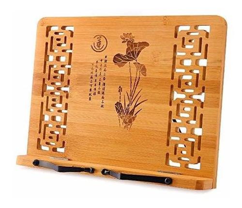 Soporte De Libro Plegable De Bambu Megrez (13 X 9.4 Pulgadas