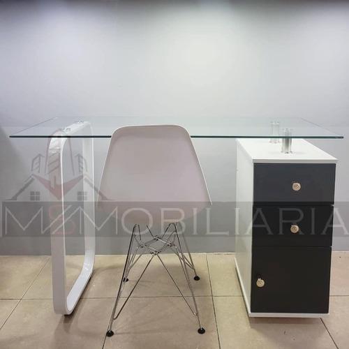 Mesa De Manicura Pedicure Moderna De Vidrio Con Cajones