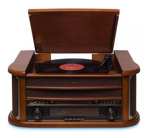 Vitrola Raveo New Opera Toca Discos Fm Cd K7 Usb Bluetooth