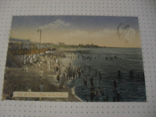 Mar Del Plata Postal Antigua Playa De La Perla (edic. Rey)