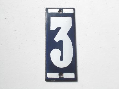 Numero Antigo Agata Esmaltado  N 3 Original