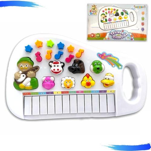 Piano Infantil Musical Teclado Com Som De Animais Fazenda