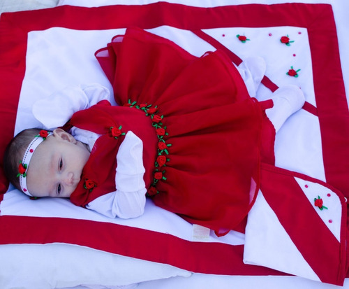 Saída De Maternidade Menina 06 Peças Vermelha-princesa Julia