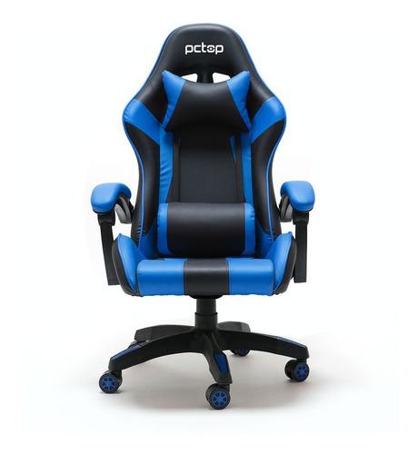 Cadeira Gamer Pctop Pc 6022 Ergonômica Reclinável Preta/azul
