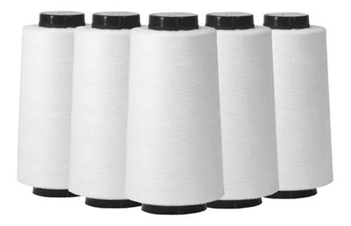 Kit 05 Linhas Para Costura 120g 25000 Jardas Branco Promoção