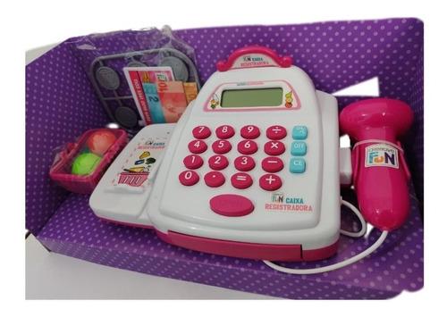 Máquina Caixa Registradora Infantil Som Luz E Acessórios