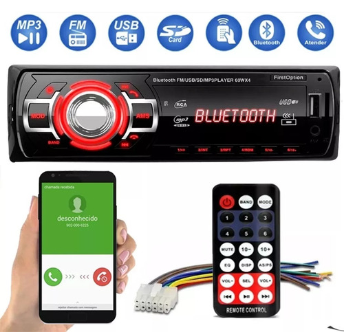 Auto Radio Automotivo Bluetooth Mp3 Player Usb Sd Som Carro