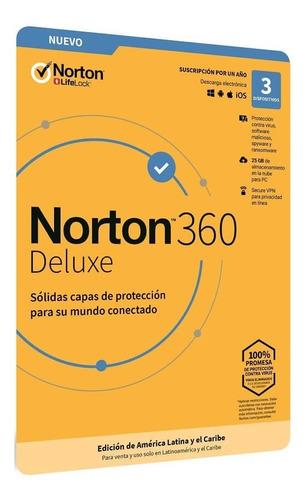 Norton 360 Deluxe 25 Gb Para 3 Dispositivos - Digital 1 Año