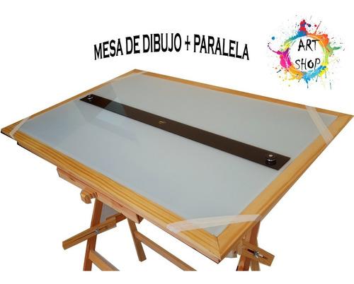 Mesa Dibujo Arquitectura 120x80 Luz -tapa-regla-vidrio Esmer