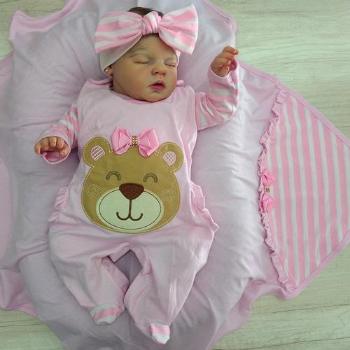 Saída De Maternidade Sonho Meu Menina Ursinha Laço