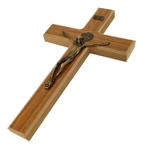 Cruz Crucifixo De Parede Madeira Metal São Bento