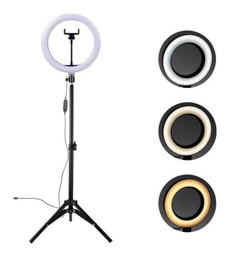 Ring Light Completo Iluminador Portátil 26cm + Tripé 210cm