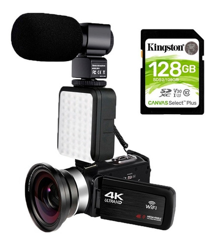 Filmadora Komery 4k Wifi Câmera 48mp Sd 128gb Pr. Entrega
