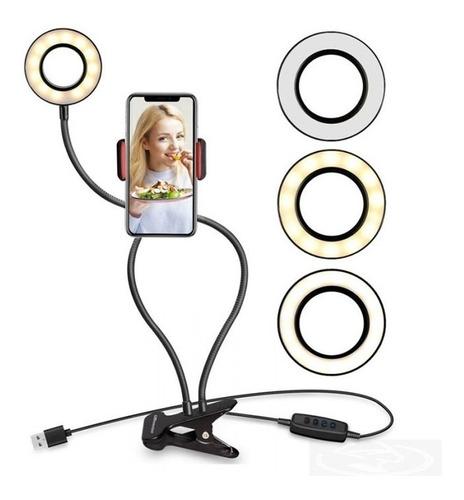 Ring Light De Mesa Iluminador Celular Led Com Suporte