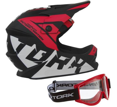 Capacete Oculos 788 Protork Moto Cross Factory Infantil