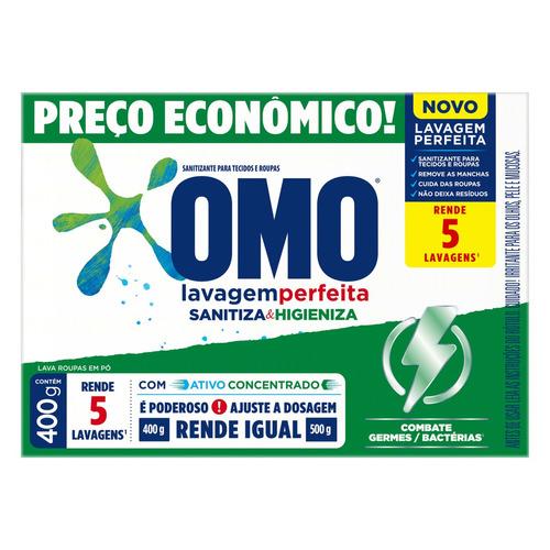 Sabão Em Pó Omo Lavagem Perfeita Sanitiza & Higieniza Caixa 400g