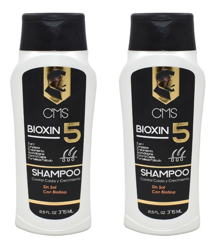 2 Shampoo Cms Bioxin5 Control Caida 5 En 1 Para Hombre 375ml