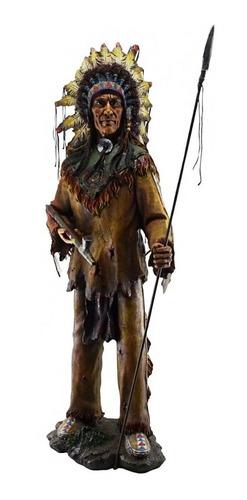 Estatueta Índio Cacique Com Lança  Xamã - 98x40 Cm