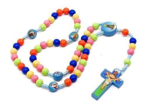 Terço Devotos Mirins Infantil Colorido De Criança Aparecida