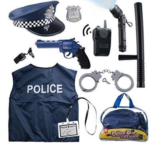 Disfraz De Policia De 12 Piezas Para Niños Con Kit De Juego