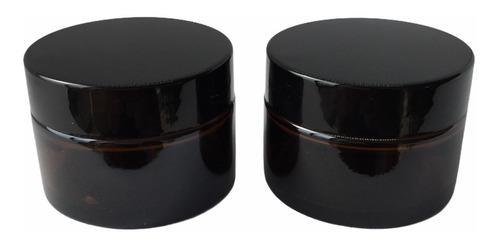 Pote Recto X 50 Cc Vidrio Ambar Con Tapa X 50 Unidades