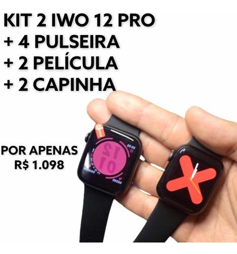 Kit Iwo, 2 Iwo 12 Pro 44mm + 4 Pulseira + Película + Capinha