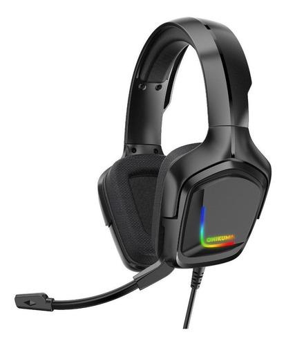 Audífonos Gamer Onikuma K20 Negro Con Luz  Rgb Led