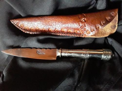Cuchillo Con Mango En Alpaca Hoja De 14cm Y Funda De Cuero