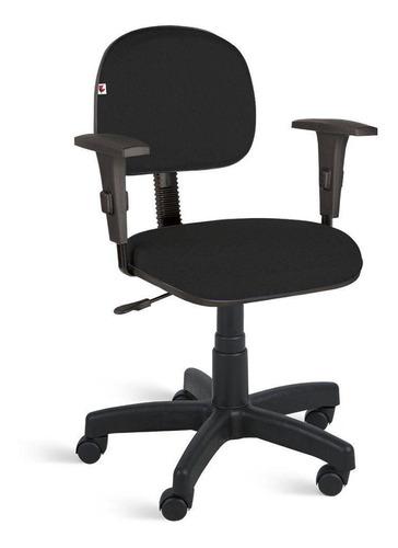 Cadeira Secretária Giratória Braços Tecido Preto