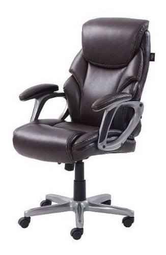 Cadeira Presidente De Couro Preta Escritório Executivo Serta