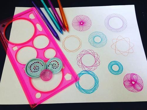 Regla Magica Espirografo Dibujar Mandalas, Verdes O Rosadas