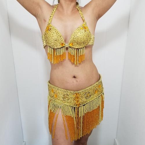 Roupa Top E Cinto Cinturão Dança Do Ventre Dourada Amarela