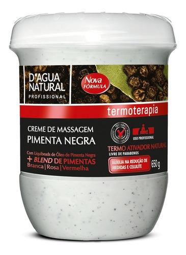 Creme Massagem Pimenta Negra Redutor Medidas E Celulite 650g