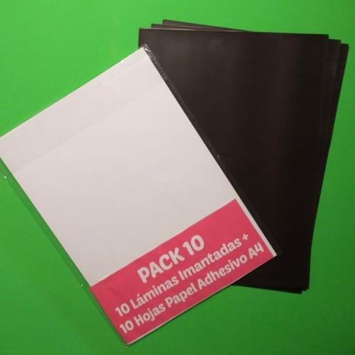 Pack 10 Láminas Imantada + 10 Hojas Papel Adhesivo Brillante