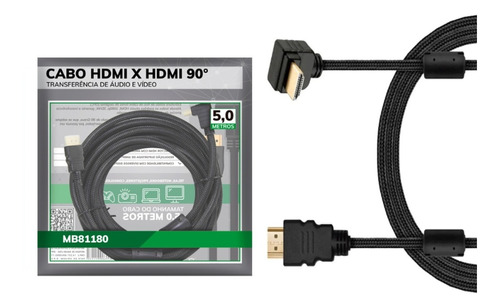 Cabo Hdmi 90º 4k 3d 1080p Camera Xbox Tv 4k Audio Video 5mt