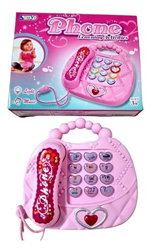 Telefone Rosa Musical Infantil - Diversas Músicas E Luzes
