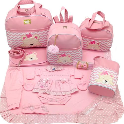 Kit Saida + Bolsa Maternidade 5 Pçs Chevron Rosa Menina