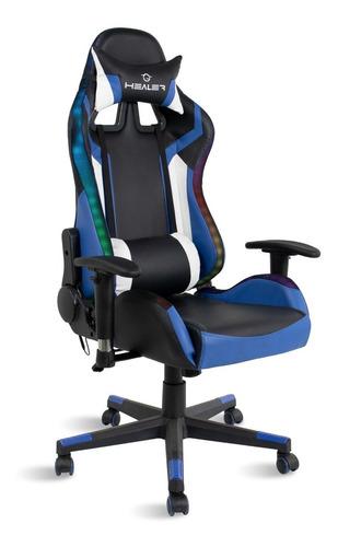 Cadeira Gamer Led Rgb  Travel Max Preto/azul
