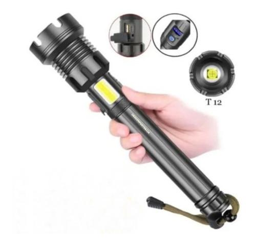 Lanterna De Mão T12 Megatop  Led Recarregável Com 2x26650