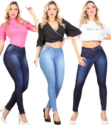 3 Calça Jeans Feminina Cintura Alta Com Lycla Frete Grátis