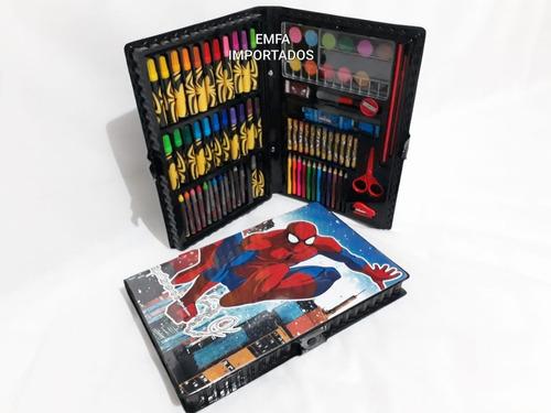 Estojo Infantil Maleta De Pintura 86 Peças - Homem Aranha